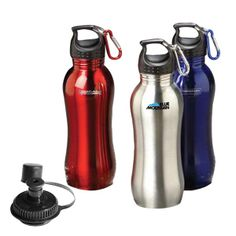 Quench that need for a great promotional product for your next marketing campaign! This 25 oz. stainless steel bottle is both durable and eco-friendly. Features a detachable mini carabiner and comes with an additional sip lid for free! Great to have during outdoor adventures such as hiking and camping. Comes in red, blue or silver. FDA approved. Hand out at your next convention or tradeshow! 10.25H x 2.625dia.
