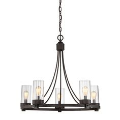 <p>Round out your entertaining space in illuminating charm with this striking chandelier.</p><p>Crafted of steel, its solid-finished frame features swooping arms descending from the top while a circular base anchors the piece. Each of the five lights sits on the round bottom rim, featuring an Edison-inspired design highlighted by a cylindrical glass shade.</p><p>Try adding it to the entryway to greet guests with a warm and welcoming glow, then let it li...