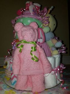 Diaper Cake for a Baby Girl by LisasCreativeGifts on Etsy