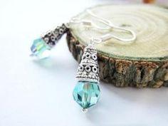 Antique Silver Cone Emerald Swarovski Crystals Green Drop Earrings | LittleApples - Jewelry on ArtFire