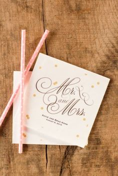 personalized cocktail napkins with monogram and polka dot straws for wedding bar at a Barn wedding at Riverside on the Potomac by Katelyn James Photography