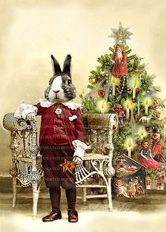 Christmas Art Beau Bunny Rabbit  Anthropomorphic. Victorian Christmas Tree . Vintage Style 5 x 7 inch. The Decorated House. $12.00, via Etsy.