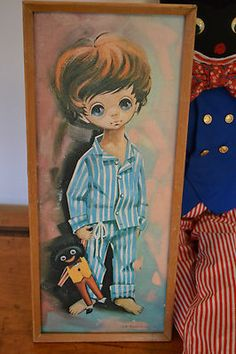 "Vintage Retro ""D. Golding"" Big Eyed Child Print / Painting with Golliwog 60s 70s  http://myworld.ebay.com.au/vintage-reborn"