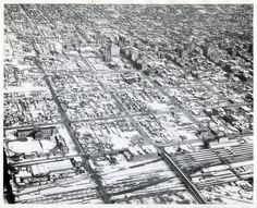 Salt Lake City is covered in snow in this photo from Feb. Cool to see where Gateway is now (on the bottom right hand side of the photo) Salt Lake City Utah, Slc, Historical Pictures, City Photo, Photo Galleries, Spaces, History, Live, Architecture