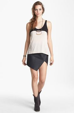I love this look.  ASTR Asymmetrical Faux Leather Skirt available at #Nordstrom
