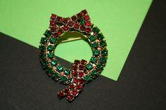 Vintage Rhinestone Wreath Brooch by GeniceRill on Etsy, $7.00