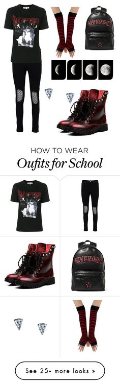 """""""Back To School"""" by blackgothoutfits on Polyvore featuring Givenchy, Boohoo, McQ by Alexander McQueen and WALL"""