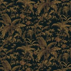 The Wallpaper Company 56 sq. ft. Black and Gold Tropical Paradise Wallpaper-WC1283018 at The Home Depot