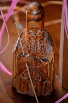 Japanese Carved Wood Netsuke Statue of Longevity by KAGUMISE