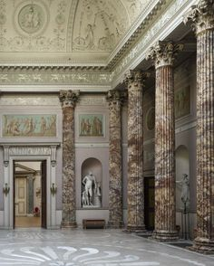 The Marble Hall at Kedleston Hall, Derbyshire. The Marble Hall was designed by Robert Adam in the 1760s and inspired by Roman architecture.