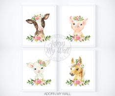 Farm Animal Prints, Girls Nursery Printables, Floral Farmyard Animal Print, Nursery Wall Art, Pig, Cow, Sheep, Horse, Farm Animal Nursery, 4