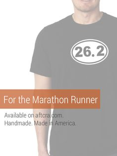 A Christmas gift for the Marathon runner - a low-key tee to let them showcase their big accomplishment with a 26.2 shirt. Holiday Gift Guide. Handmade and made in America. http://aftcra.com/iXpressIt/listing/6277/marathon-marathon-t-shirt-all-races