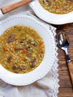 Mushroom Barley Soup with Flanken - Homemade Jewish Deli-Style Beef Soup Recipe, Savory and Comforting