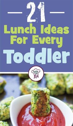 21 Lunch Ideas For Every Toddler - Here's our ultimate list of toddler lunch ideas. From sweet potato lentil and cheddar croquettes to healthy baked broccoli tots; these recipes are sure to please any toddler from the pickiest little one to the food crazy tot! #fmk #recipes #toddler