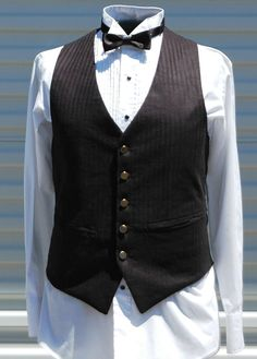 Mens Medium Black Herringbone Steampunk Vest by OLearStudios, $98.00