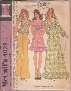 MOMSPatterns Vintage Sewing Patterns - McCall's 4028 Vintage 70's Sewing Pattern DAINTY Boho Diamond Empire Waist Tie Back Smock Top Blouse, Flutter Sleeve Party Dress, Maxi Gown Size 14