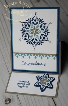 Braided linen trim is a great compliment to this Happiness Surrounds card in the Snowflake Showcase suite Stamped Christmas Cards, Stampin Up Christmas, Xmas Cards, Christmas Tag, Holiday Cards, Birthday Month Signs, Birthday Cards, Snowflake Cards, Snowflakes