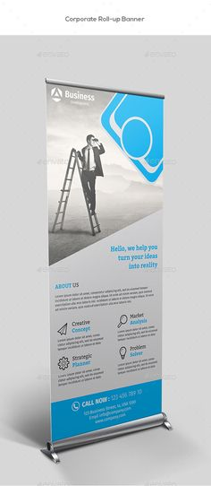 Buy Corporate Roll-up Banners by Mugli on GraphicRiver. Corporate roll-up banners template. This layout is suitable for any project purpose. Very easy to use and customise. Roll Up Design, Pop Design, Graphic Design, Design Ideas, Standee Design, Banner Design, Signage Design, Letterhead Template, Brochure Template