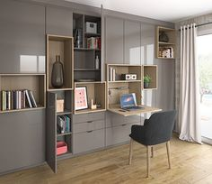 The library blends into the walls and elegantly integrates an office space! Open Kitchen And Living Room, Living Room Wall Units, Small Living Rooms, Living Room Modern, Living Room Designs, Home Office Design, Home Office Decor, Built In Furniture, Home Furniture