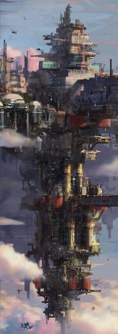Fantasy Landscape, Landscape Artwork, Floating Cities, Floating Island, Cloud City, Cyberpunk, Fantasy City, Fantasy Places, Sci Fi Fantasy