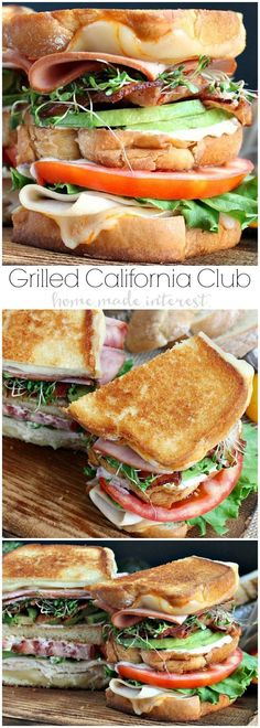 This Grilled California Club Sandwich oozes Munster cheese, and is piled high with ham, turkey, bacon, avocado, lettuce, tomatoes, and sprouts