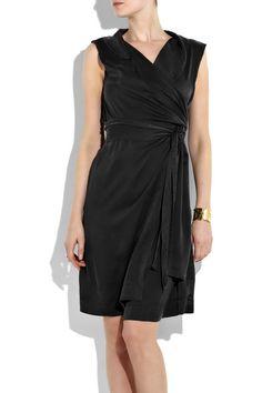 Black silk-charmeuse sleeveless shirt dress