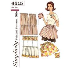 Simplicity Apron Patterns | 1960s Scalloped Apron and Curtains Pattern Vintage by ErikawithaK, $10 ...