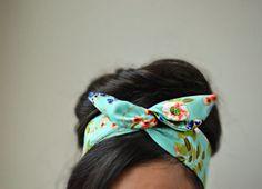 Floral mint dolly bow headband , Chic Head wrap