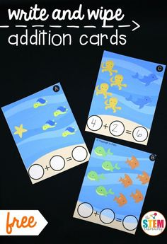 Write and wipe addition cards! Fun addition activity for summer. Perfect math center for kindergarten or first grade.