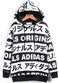 Shop Black White Hooded Letters Print Sweatshirt online. Sheinside offers Black White Hooded Letters Print Sweatshirt & more to fit your fashionable needs. Free Shipping Worldwide!
