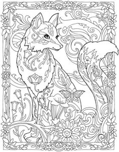 The top 23 Ideas About Fox Adult Coloring Pages . Coloring pages are no much longer simply for kids. Coloring books are offering well in the adult market. Fox Coloring Page, Adult Coloring Book Pages, Mandala Coloring Pages, Animal Coloring Pages, Printable Coloring Pages, Coloring Pages For Kids, Coloring Sheets, Dover Coloring Pages, Creative Haven Coloring Books