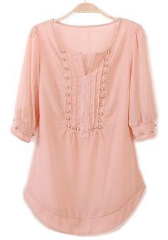 Pink Rivet Irregular V-neck Half Sleeve Chiffon Blouse