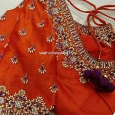 pearl work maggam embroidery blouse designs Guttapusalu blouse designs for silk sarees, new maggam work blouse designs, pearl work blouse designs, guttapusalu work blouse, Wedding Saree Blouse Designs, Pattu Saree Blouse Designs, Blouse Designs Silk, Designer Blouse Patterns, Wedding Sarees, Salwar Designs, Hand Work Blouse Design, Simple Blouse Designs, Zardosi Work Blouse