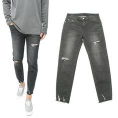 NEED 니드 [NEED] Crop Slim Denim Pants Black  크롭 슬림 청바지