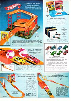 "Hot Wheels Sears 1970. My bros loved their hot wheel vehicles (known as ""dinky cars""). I remember yards of bright orange plastic racing track stretching from one end of the house to the other."