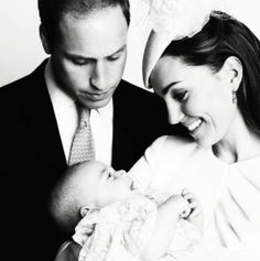 yoursweetremedy:  New official royal christening portrait-Duke and Duchess of Cambridge with Prince George (edited from color to black and white)