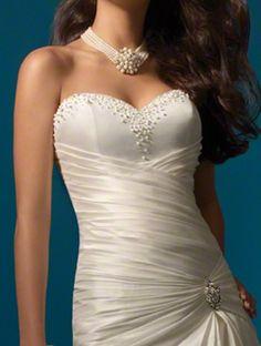 (FITS031109 )2014 Style Trumpet / Mermaid Sweetheart Sleeveless Chapel Train Satin Wedding Dress For Brides