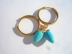 Hoop earrings, Sterling silver 24k gold plated earrings,Vermeil gold hoop earrings,Turquoise dangle hoop earrings, Turquoise  hoop earrings