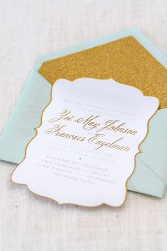 #mint & gold laser cut stationery... Wedding ideas for brides, grooms, parents & planners ... https://itunes.apple.com/us/app/the-gold-wedding-planner/id498112599?ls=1=8 … plus how to organise an entire wedding, without overspending ♥ The Gold Wedding Planner iPhone App ♥