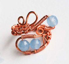 Copper Wire Wrap Woven Light Blue Dyed Jade by jeanninehandmade, $6.00