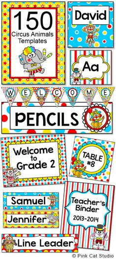 Create a fun and cohesive Circus / Carnival Animals theme classroom with this value packed set of ed Circus Theme Classroom, Classroom Labels, Classroom Posters, Classroom Activities, Classroom Decor, Fun Educational Games, Learning Games, Online Games For Kids, Carnival Themes