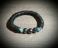 Men bracelet coconut hematite and aquamarine. Boutique Etsy, Bracelets For Men, Turquoise Bracelet, Coconut, Stone, Jewelry, Man Bracelet, Men, Rock