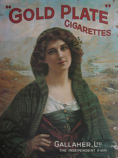 Gallaher 'Shawl' Gold Plate Cigarettes Advertisement Poster - Old Irish Posters