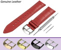 STRAP FOR SEIKO WATCHES. RED crocodile leather pattern strap made of high quality genuine calf leather in classic padded design. Hugo Boss Watches, Seiko Watches, Breitling, Emporio Armani, Omega Watch, Firs, Leather Pattern, Band, Rotary