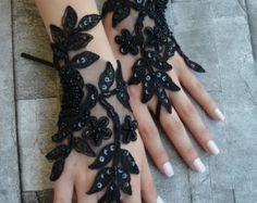 free ship goth gothic black wedding gloves bridal by UnionTouch