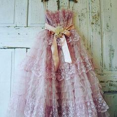 Faded pink tulle Lace dress wall hanging by AnitaSperoDesign Pink Tulle, Tulle Lace, Flower Girl Dresses, Prom Dresses, Wedding Dresses, Lace Dresses, Vintage Prom, French Lace, Elegant