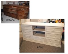 I did it! I found an old dresser and converted/upcycled it to a beautiful tv stand. Very pleased with the end result!