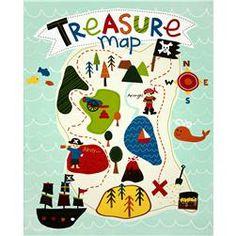 Riley Blake Treasure Map Panel Teal