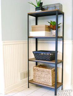 fixer upper style wood and metal effect shelving from the IKEA HYLISS / Grillo Designs Blog www.grillo-designs.com