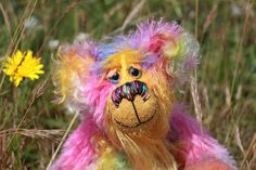 Summertime Samba is a vibrant, joyful, colourful one of a kind, hand dyed mohair artist bear by Barbara-Ann Bears, £140.00